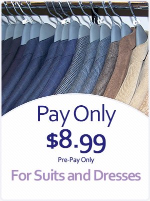 Pay Only $8.99 on Dry Cleaning for Suits and Dresses