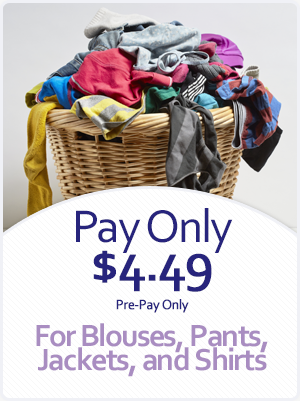 Pay Only $4.49 on Dry Cleaning for Blouses, Pants, Jackets, and Shirts